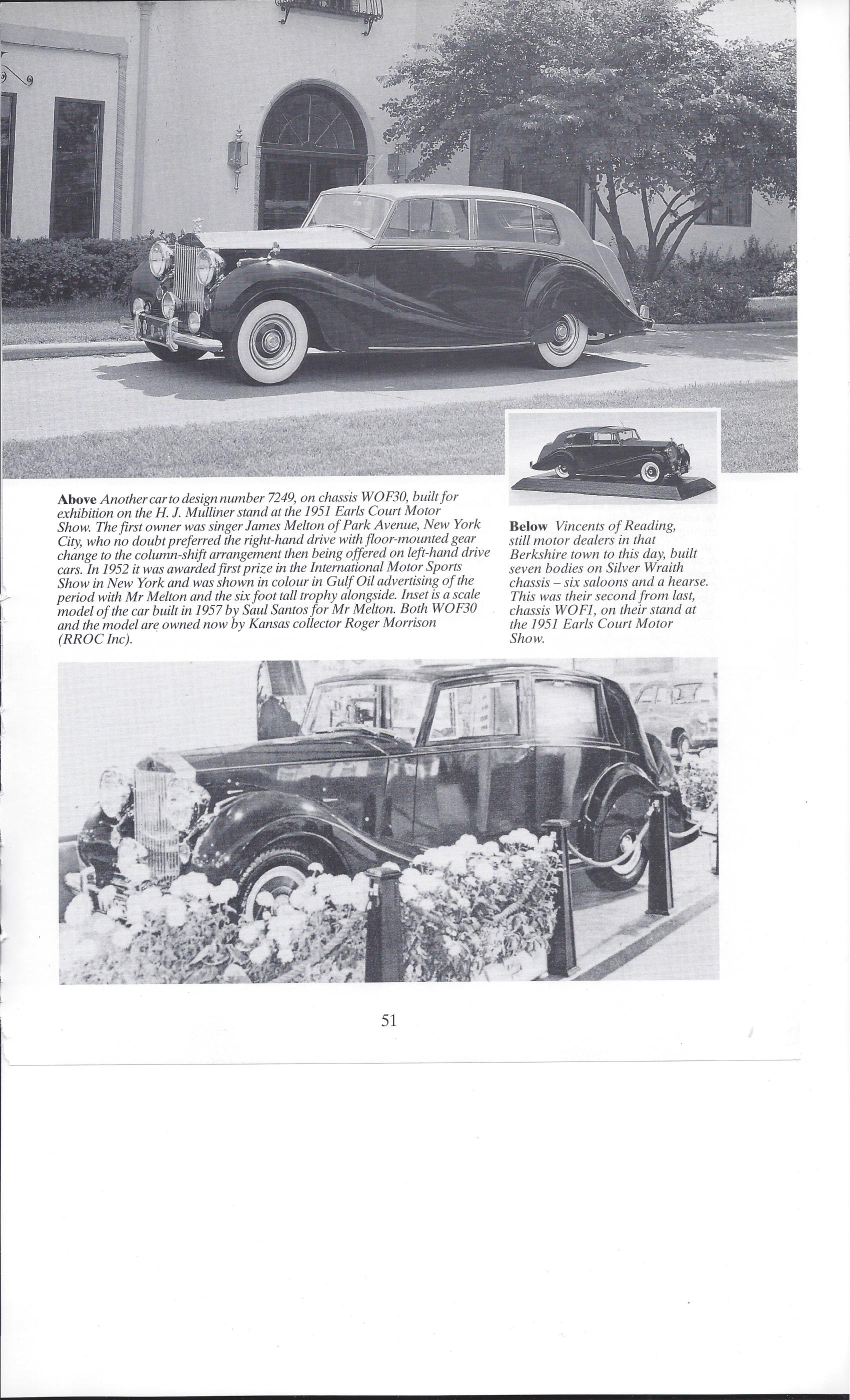 1951 Rolls Royce Silver Wraith WOF1 seen in a vintage photograph in the Earls Court Auto Show catalogue