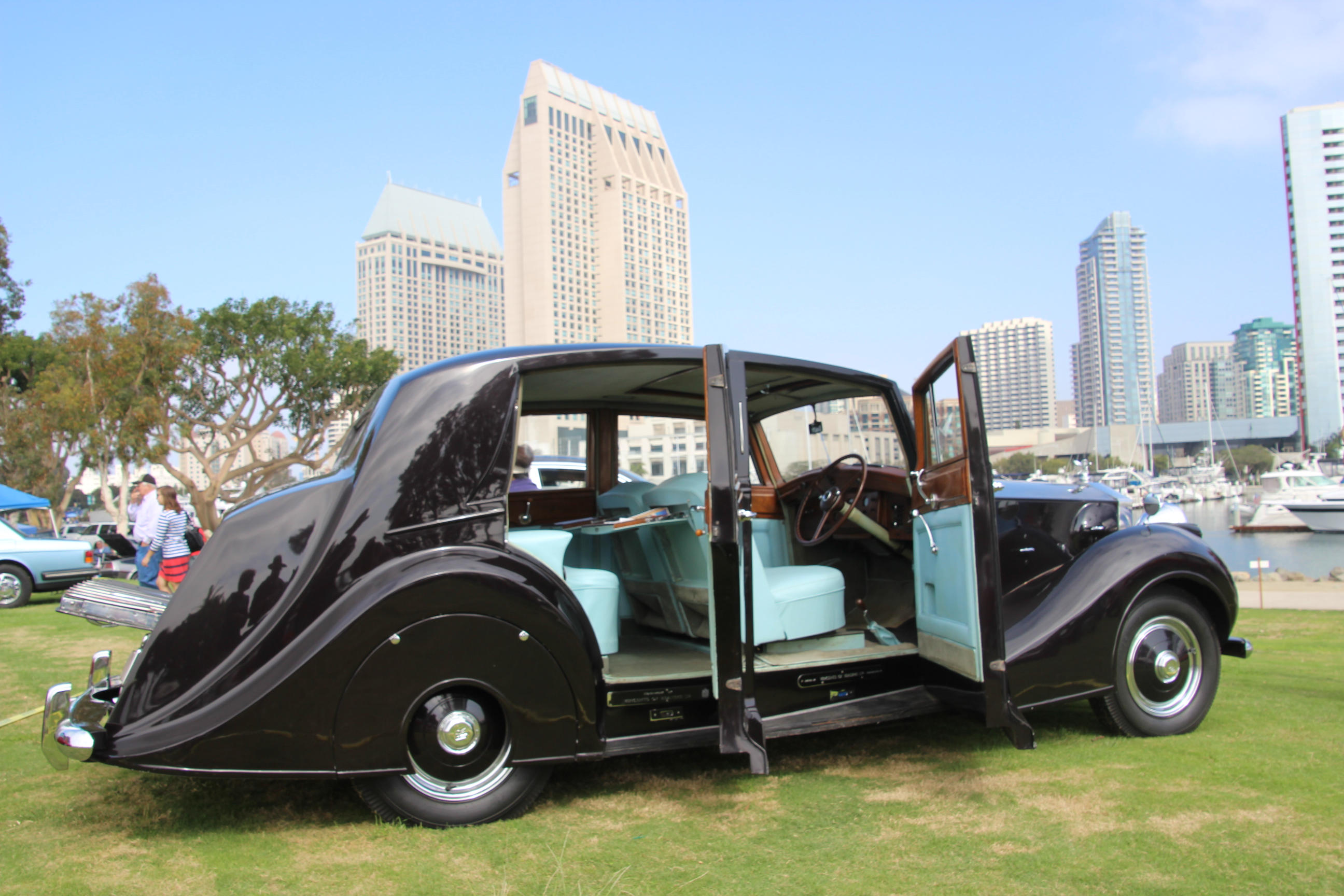 1951 Rolls Royce Silver Wraith WOF1 at a car show with all doors open and interior showing