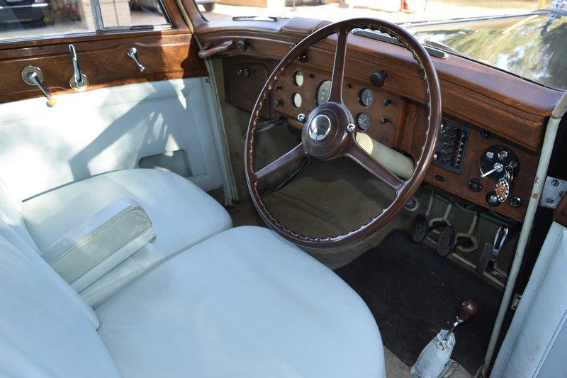 1951 Rolls Royce Silver Wraith WOF1 closeup view of interior showing the steering wheel