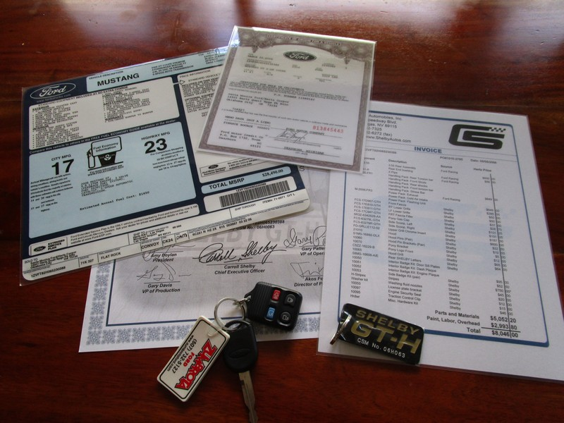 Documents and keys for 2006 Ford Mustang Shelby GT-H